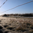 Ice coated wire fence in a farm field — Stok fotoğraf