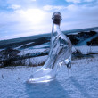Crystal glass high heels on blue snowy golf course — Foto de Stock