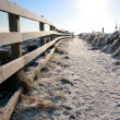 Frozen snow covered path on cliff fenced walk — Stock Photo