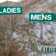 Ladies sign above mens sign and next tee sign — Stock Photo