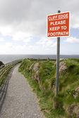 Uyarı işareti arasında kır çiçekleri cliff, yol — Stok fotoğraf