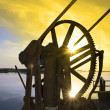 Crane gears on Salleen pier with sunset — Stock Photo