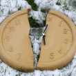 Broken clock face in snow — Stock Photo #30494511