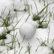 Stock Photo: Single dimpled golf ball in snow