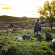 Female tourist at a stone circle in county Donegal Ireland — Stock Photo