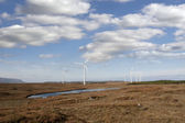 Marshy bogland with wind turbines — Stock Photo