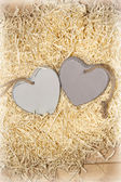 Two wooden hearts in a love nest — Stock Photo
