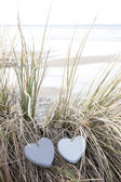 Couple of love hearts on sand dunes in summer — Stock Photo