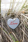 Inscribed blue wooden heart on beach dunes — Stock Photo