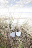 Two love hearts on sand dunes in summer — Stock Photo