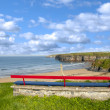 Ballybunion bench beach and castle view — Stock Photo #50299879