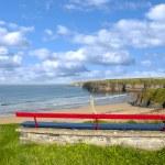 Ballybunion bench beach and castle view — Stock Photo #50299879
