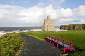 Vista de banco de praia e castelo de ballybunion — Foto Stock