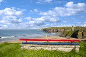 Ballybunion bench beach and castle view — Photo
