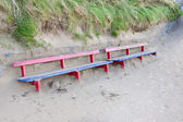 Ballybunion bench covered in sand — Photo