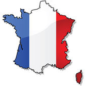 Map of France with flag — Stock Vector