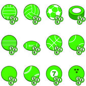 Green sports betting icons — Stock Vector