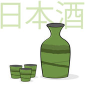 Sake bottle and cups — Stock Vector