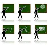 Glossy school icons — Stock Vector