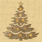 Vintage Christmas tree — Stock Vector