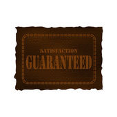 Leather patch - satisfaction guaranteed — Stock Vector