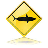 Shark warning sign — Stock Vector