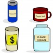 Donation jar and cups — Stock Vector