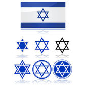 Flag of Israel and star of David — Stock Vector