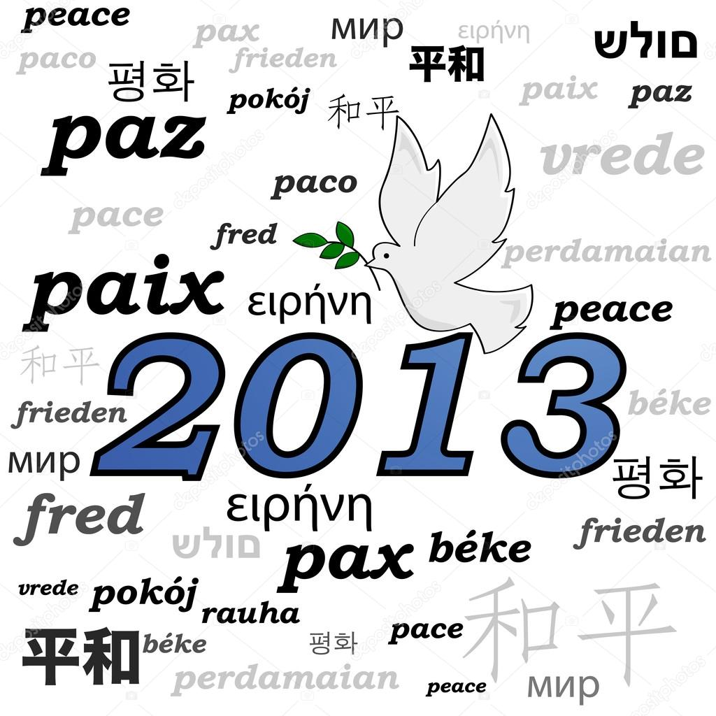 Concept illustration showing a peace dove over the year 2013 and the word peace written in different languages — Grafika wektorowa #16927801