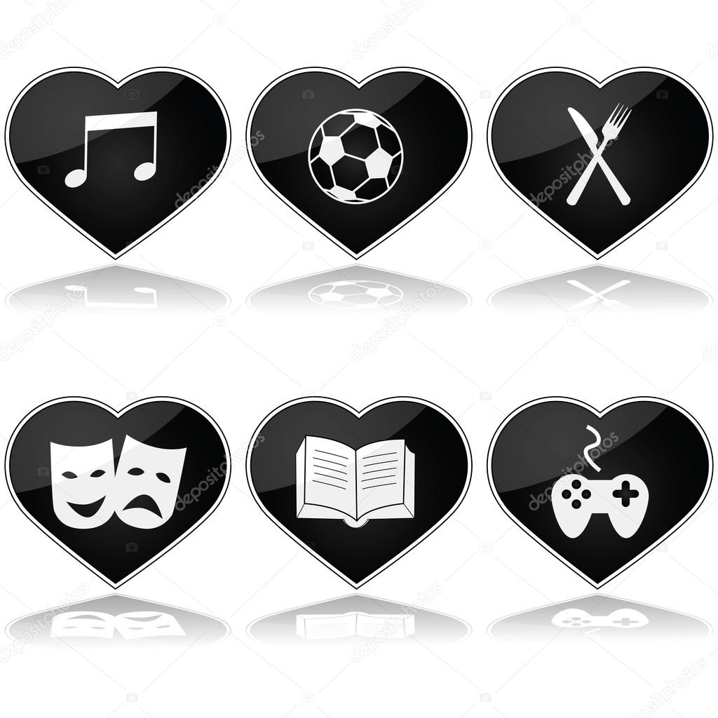 hobbies set stock vector copy bruno  concept illustration showing a set of hearts different hobby interests inside them vector by bruno1998