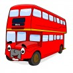 Happy cartoon bus — Stock Vector