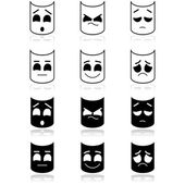 Theater emotion faces — Stock Vector
