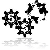 Money moves the world — Stock Vector