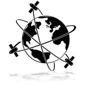 Satellites in orbit — Vector de stock