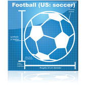 Soccer ball blueprint — Stock Vector