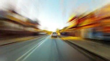 Car rides city — Stock Video