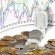 Stock Photo: Coins and currency rates