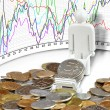 Coins and currency rates — Stock Photo