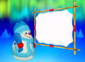 Snowman with skis — Stock Photo