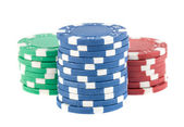 Three stacks of poker chips — Foto Stock
