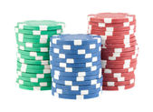 Three stacks of casino chips — Foto de Stock