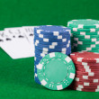 Casino chips and cards - Stock Photo