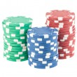 Three stacks of casino chips — 图库照片