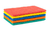 Stack of different color sponges — Stock Photo