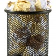 Waste bin with crumpled paper — Stock Photo