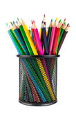 Various color pencils in black office cup — Stock Photo
