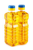 Two plastic bottles of sunflower oil — Stok fotoğraf