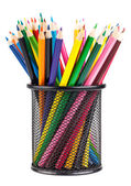 Various color pencils in black container — Stock Photo