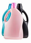 Three different color plastic bottles — Stock Photo