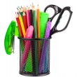 Office cup with scissors, pencils and pens — Stock Photo